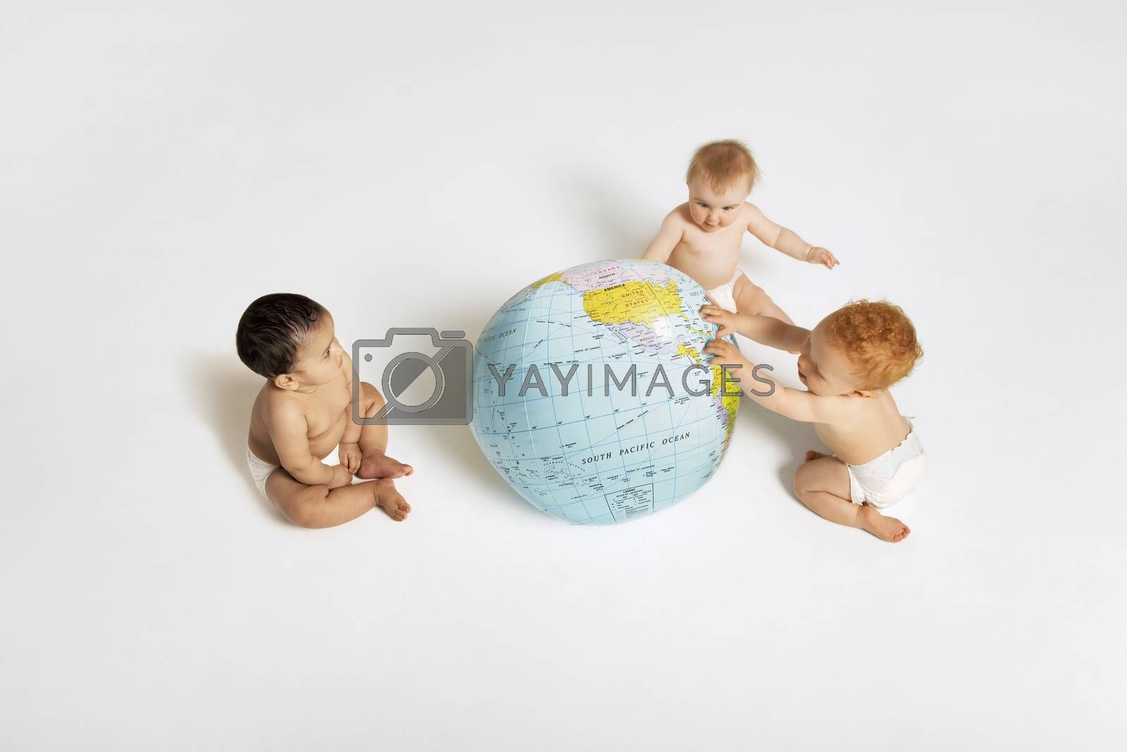 Babies Playing With Globe