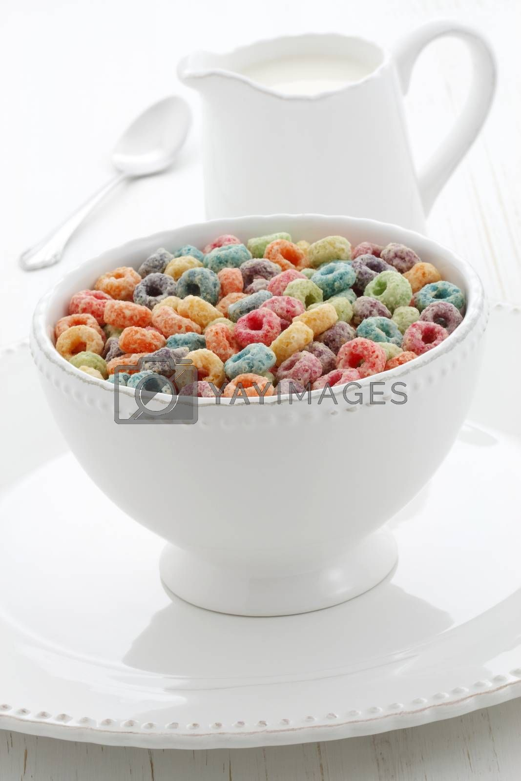 delicious and nutritious cereal fruit loops, healthy and funny addition to kids breakfast.