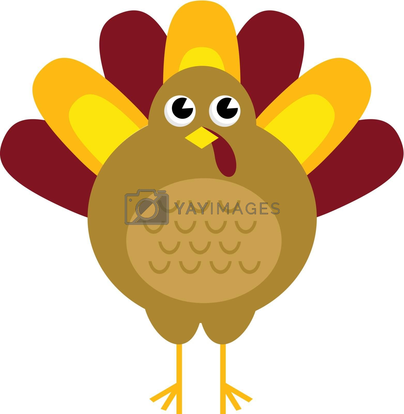 Stylized brown turkey. Vector illustration