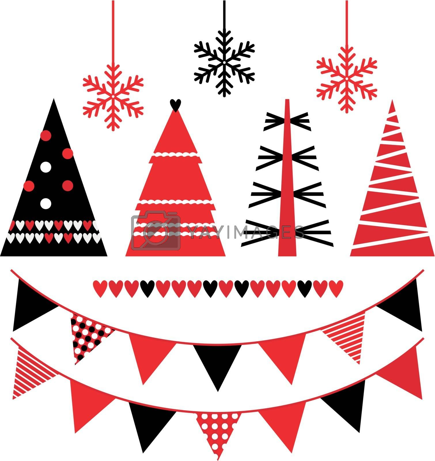 Retro patterned Xmas trees and elements set. Vector