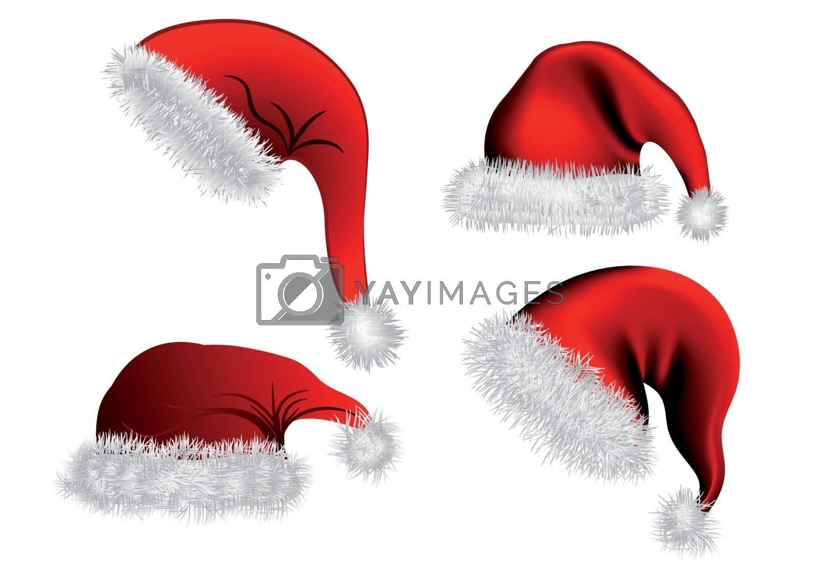 Set of Christmas hat isolated on white