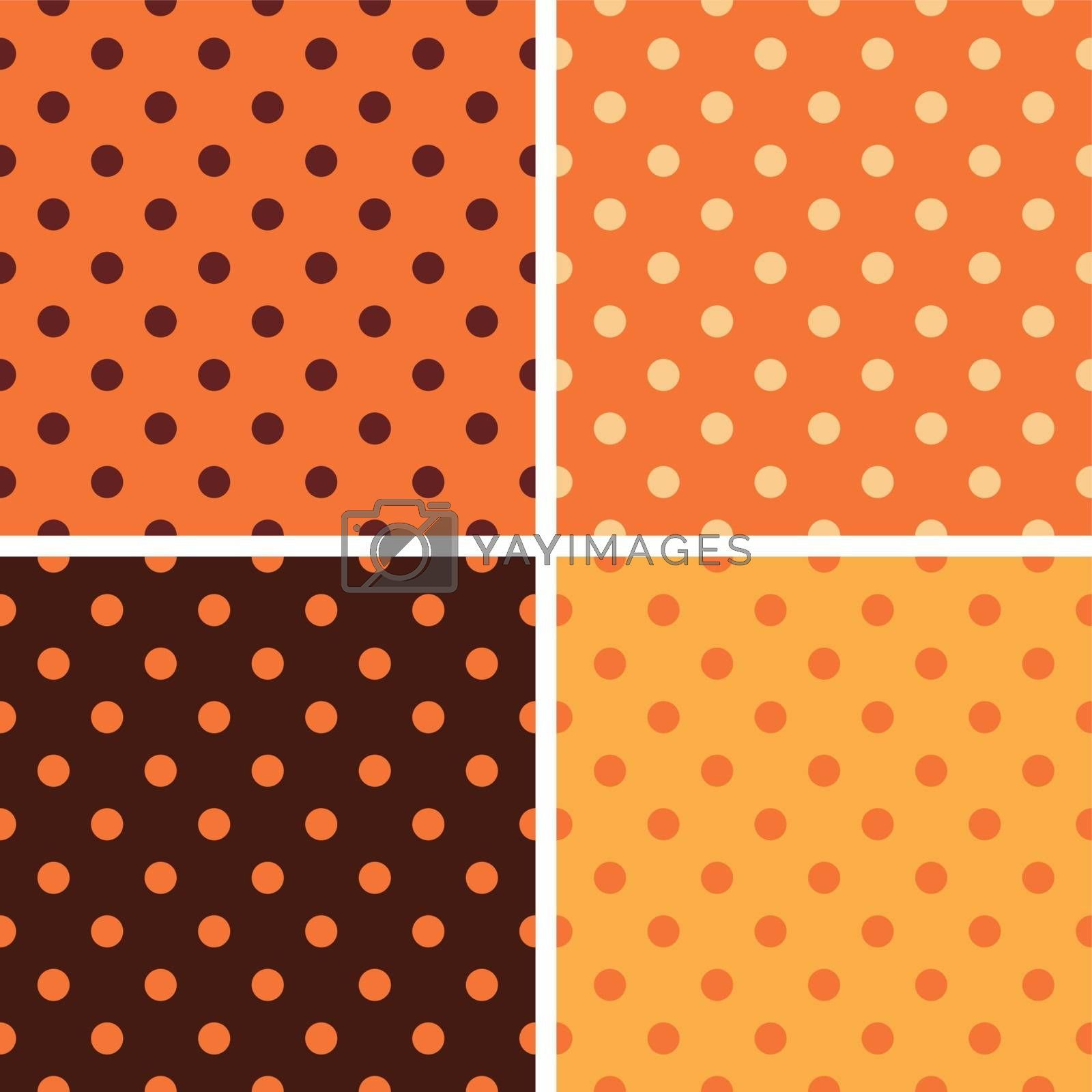Colorful Thanksgiving seamless dotted pattern set. Vector