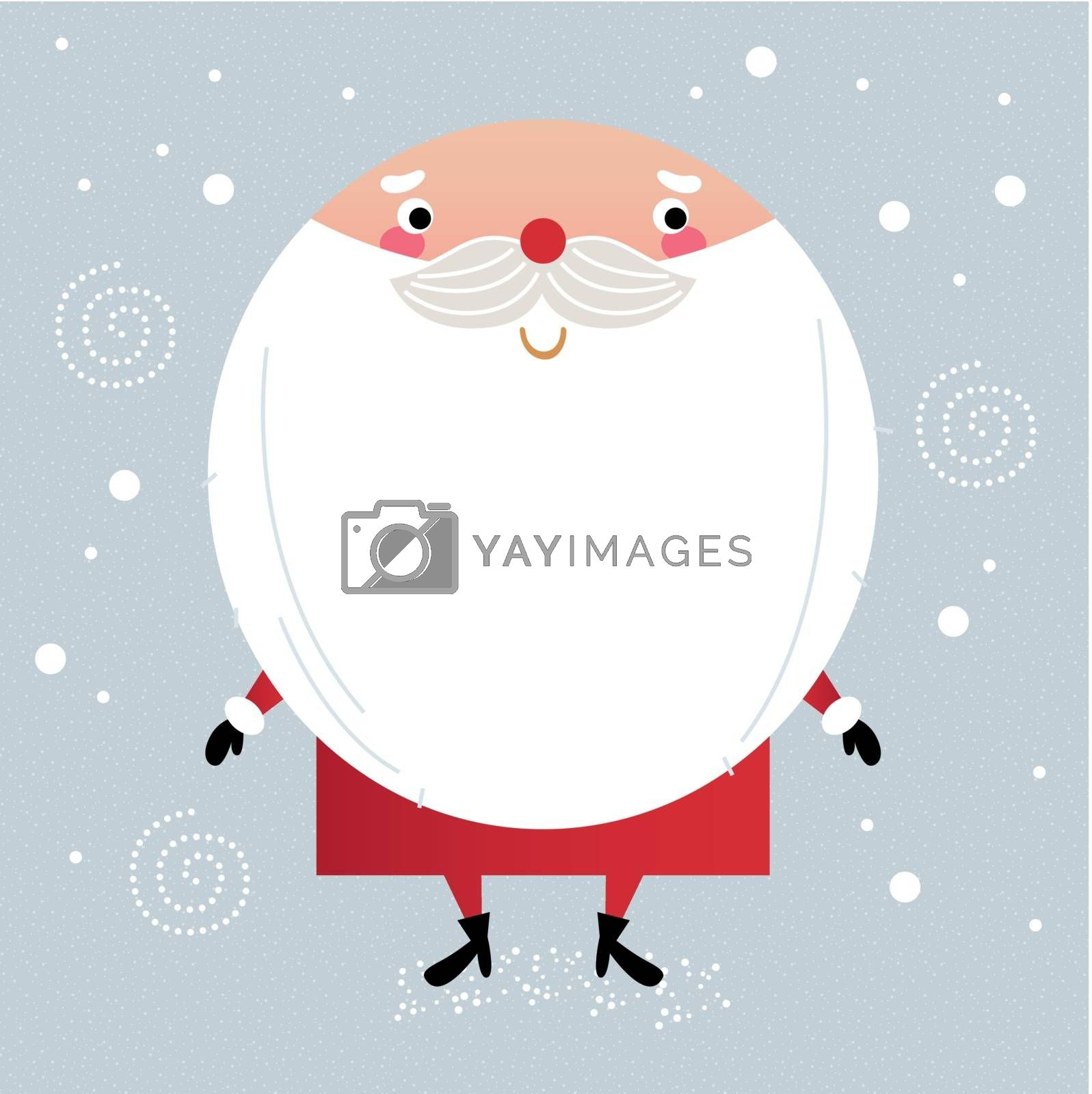 Santa with beard, cute greeting for Xmas holiday. Vector cartoon Illustration