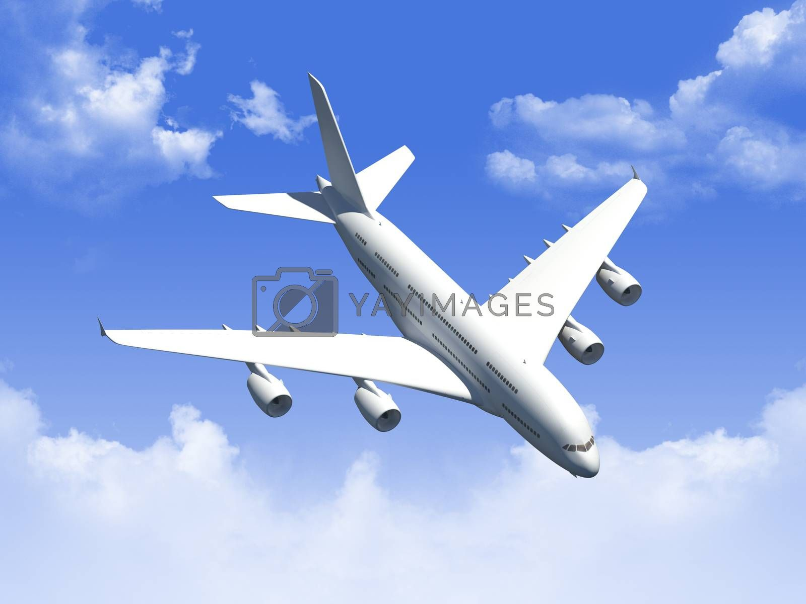 Airplane flying in the blue cloudy sky.