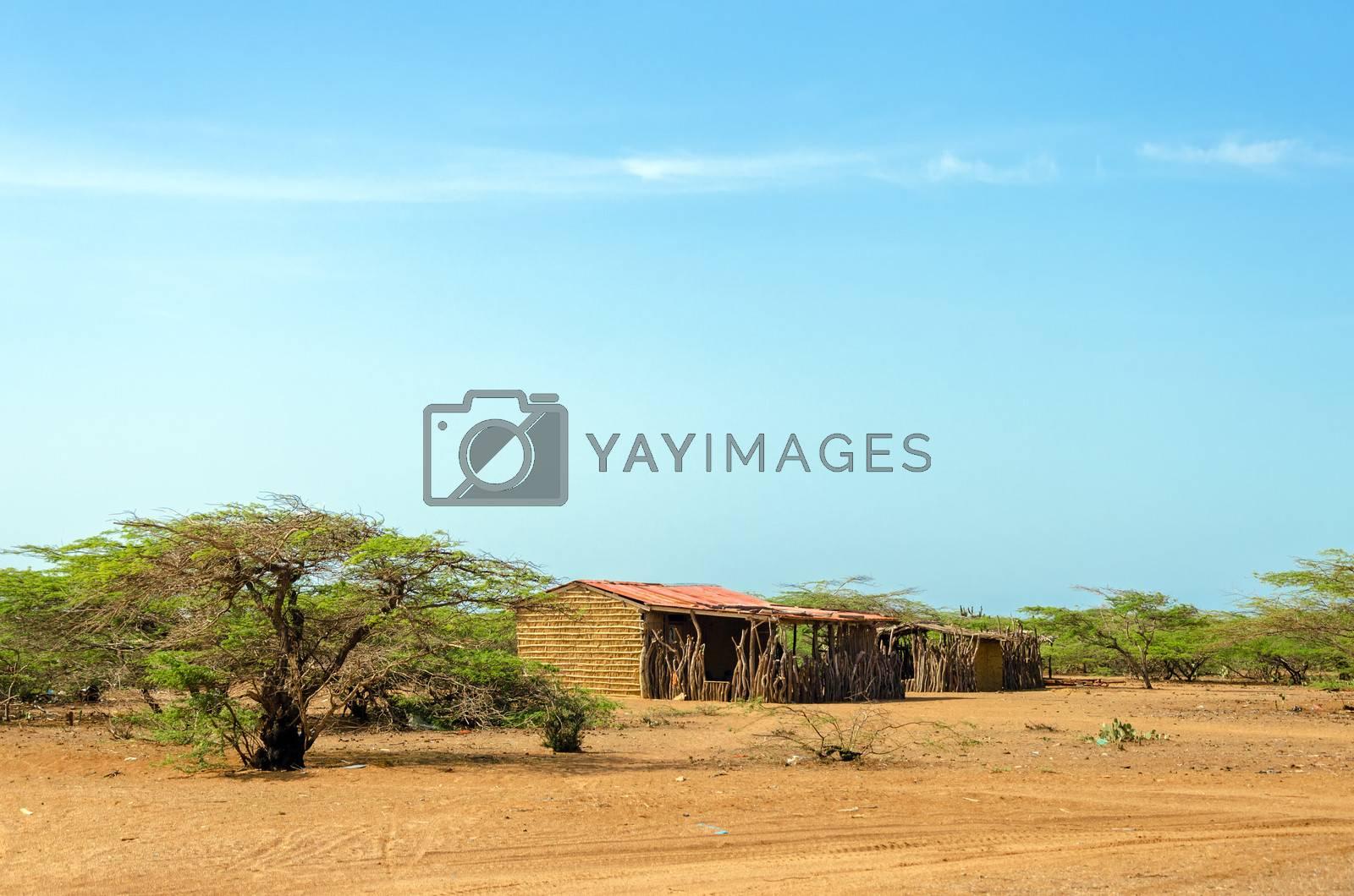 Rustic house made of mud in La Guajira, Colombia
