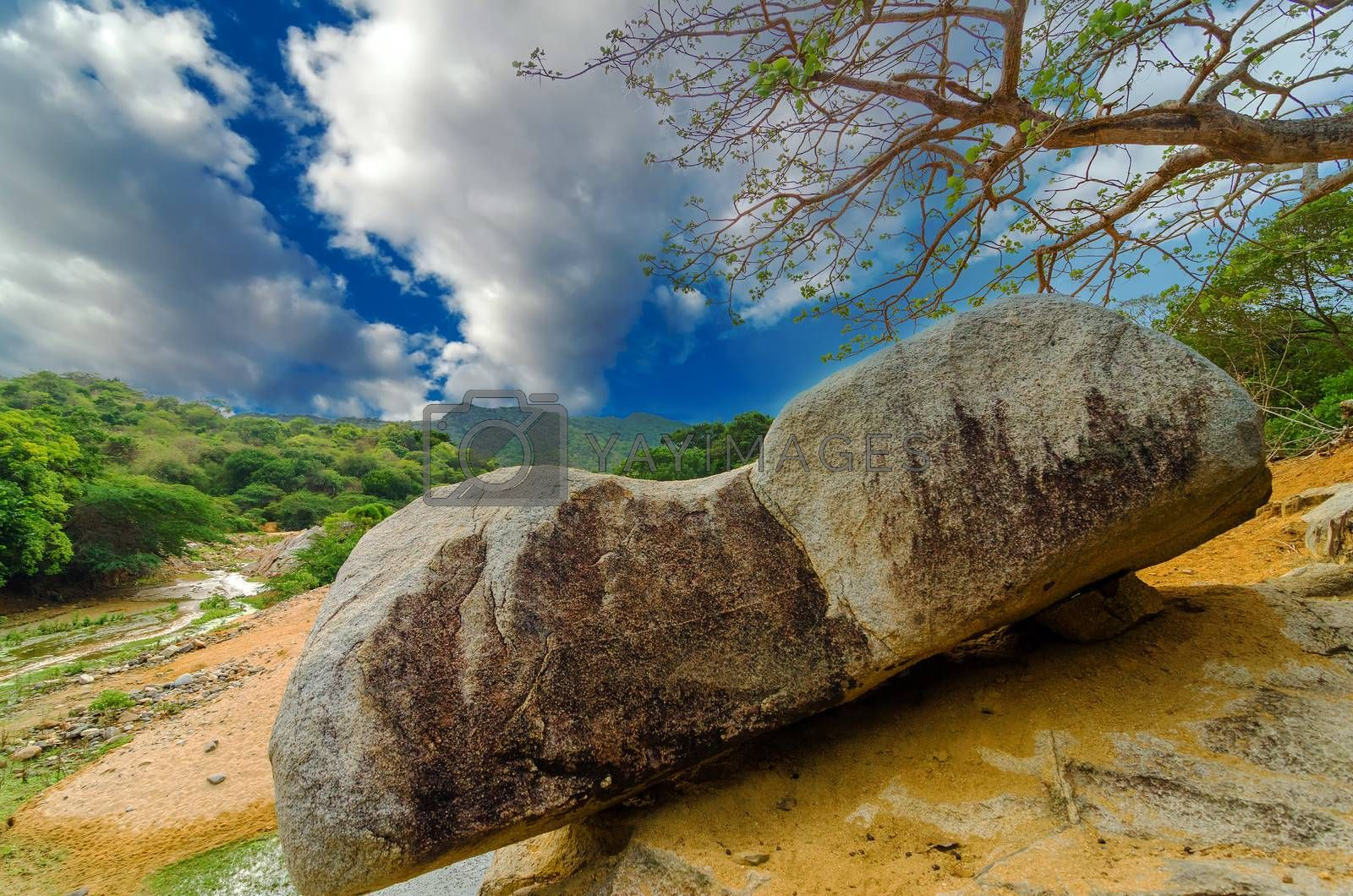 View of boulder that is important in Wayuu indigenous mythology in La Guajira, Colombia