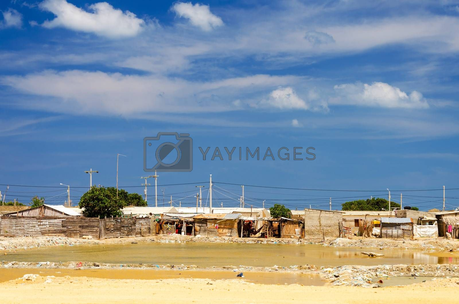 Slum next to salt pools in Manaure in La Guajira, Colombia