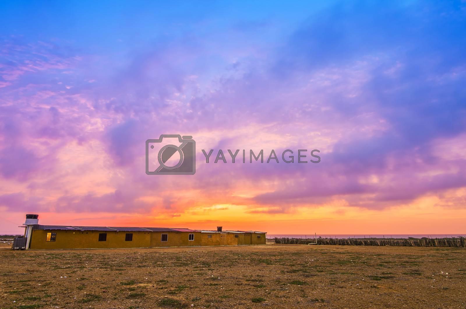 Vibrant colorful sunset in Punta Gallinas in La Guajira, Colombia
