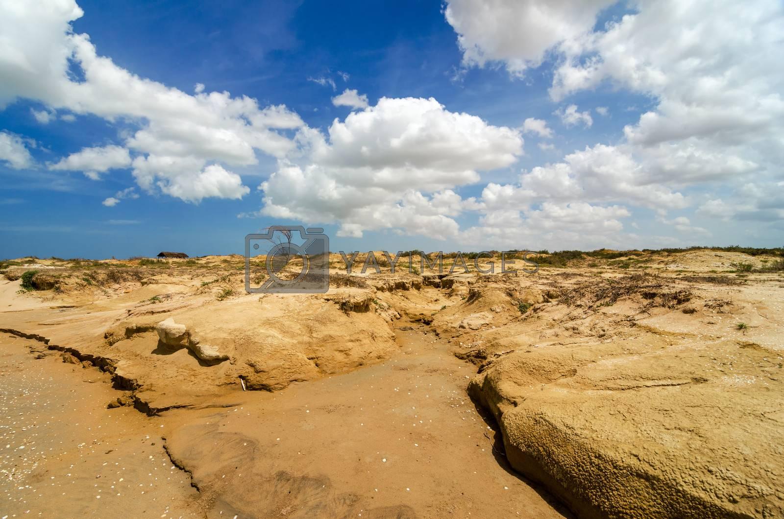 Dry barren desert landscape in La Guajira, Colombia