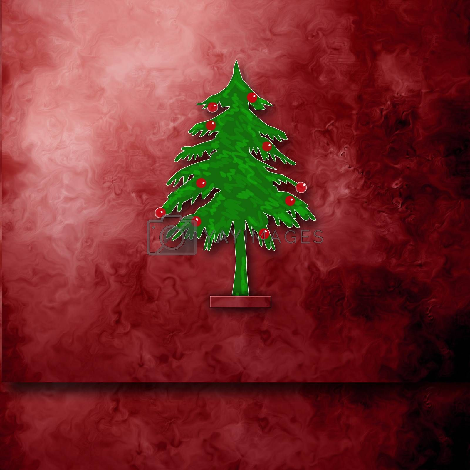 Christmas card with space for writing fir tree on maroon background