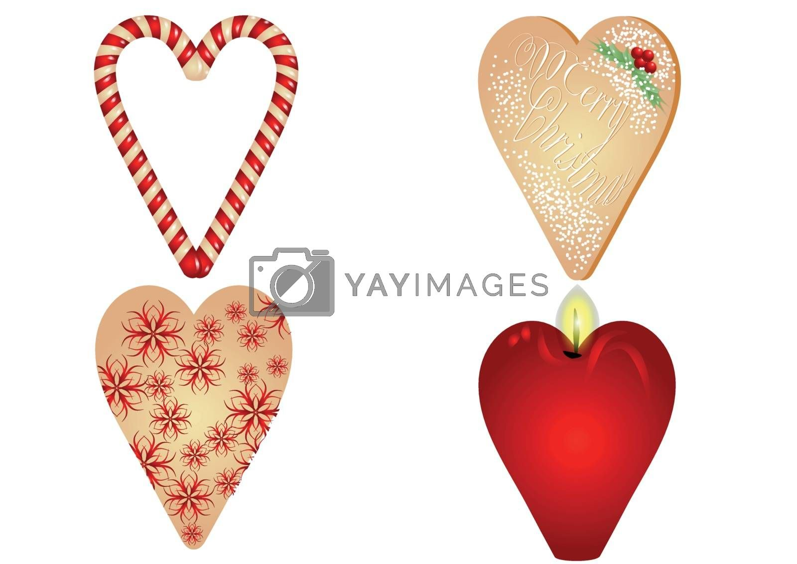 christmas heart on white background. 10 EPS