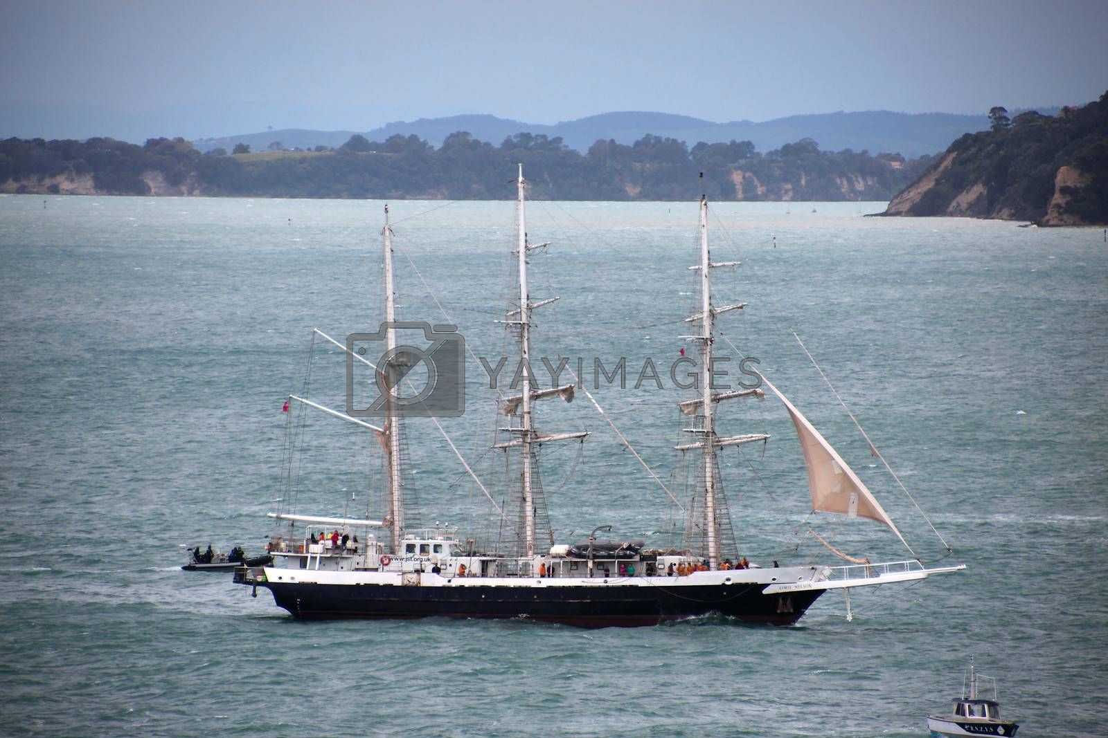 "AUCKLAND-October 25: Tall ship named ""Lord Nelson"" of the United Kingdom sailing in from Australia arriving in Waitemata Harbour in Auckland, New Zealand on  Friday October 25, 2013."
