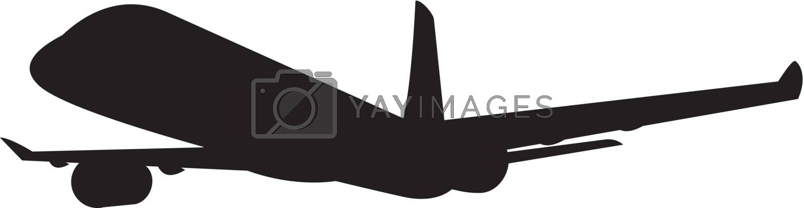 Illustration of a commercial jet plane airliner silhouette on isolated background.