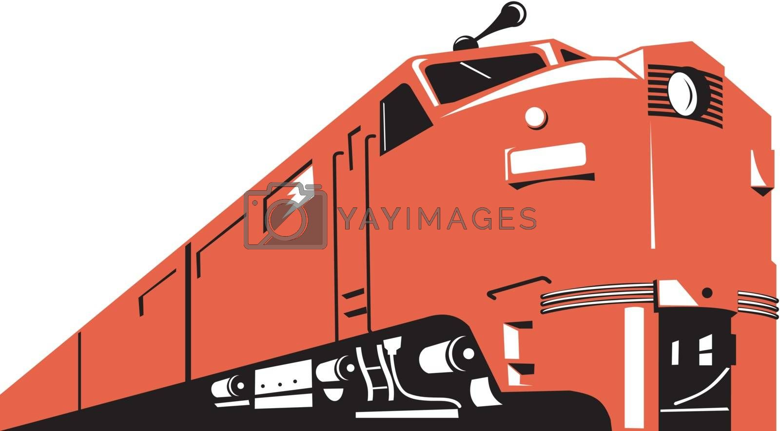 Illustration of a diesel train viewed from a high angle done in retro style on isolated white background.