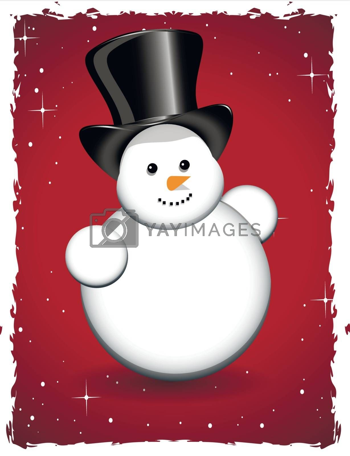 illustration snowman with star on red background