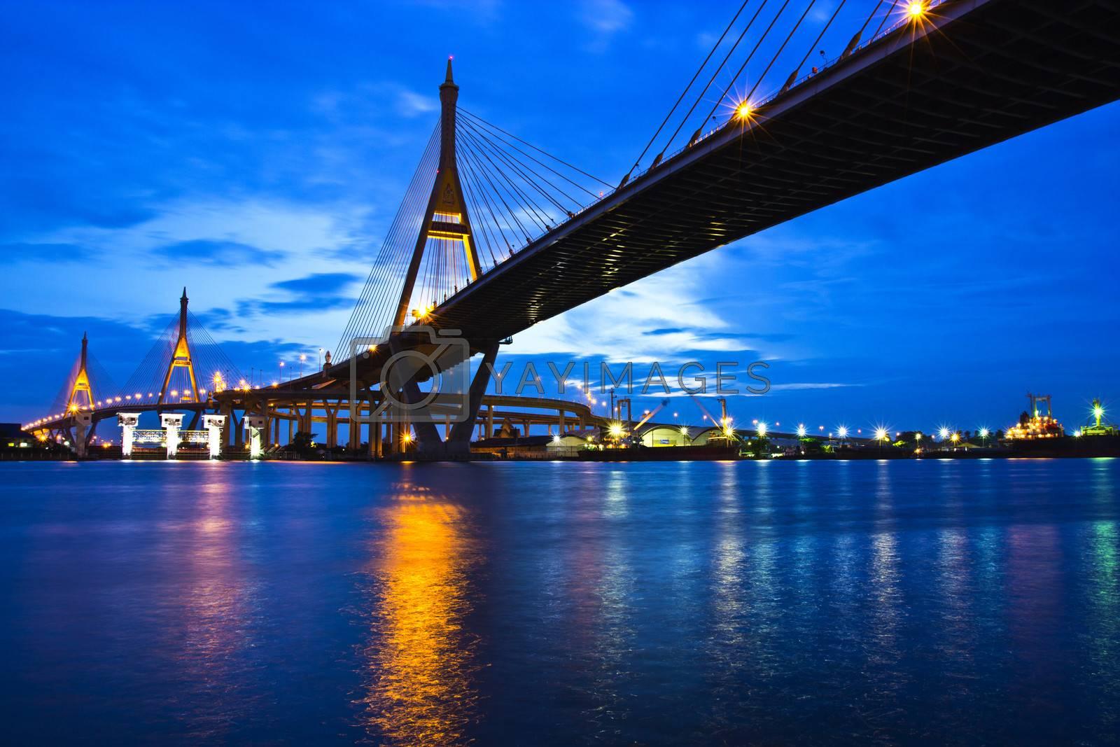 Bhumibol Bridge 1 and Bhumibol Bridge 2 in Bangkok of Thailand