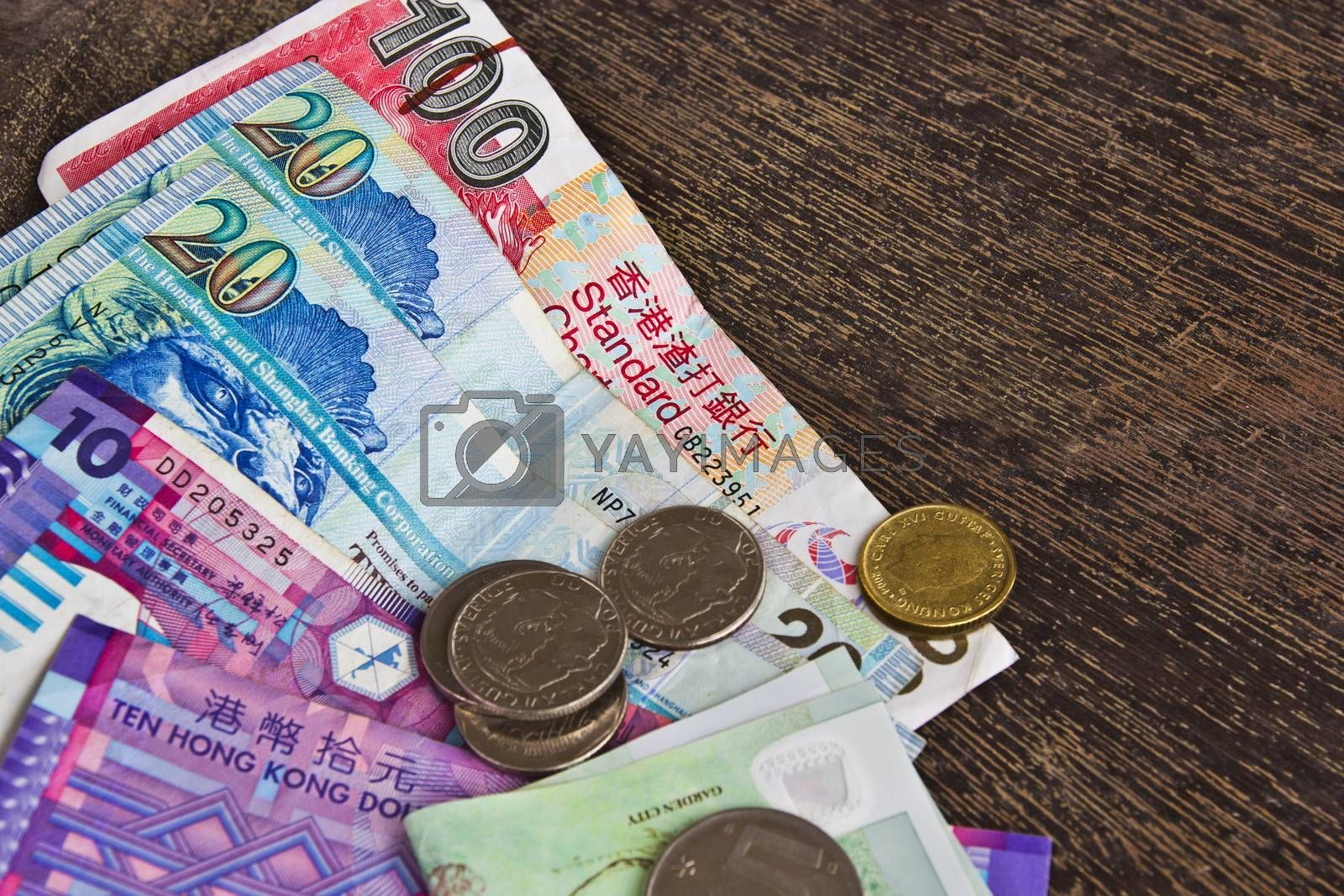 The money of Hong Kong Dollars with notes bank and coin