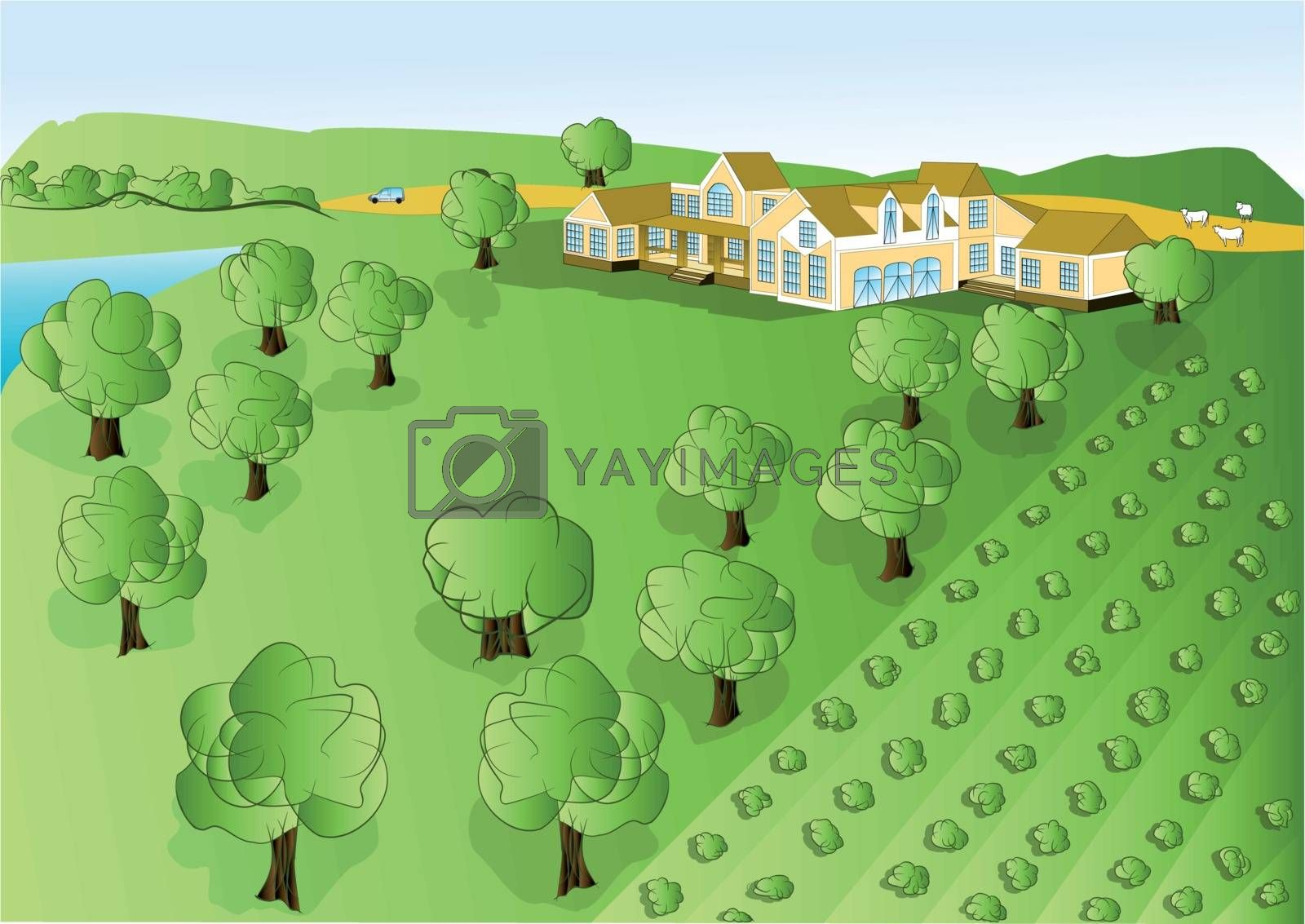 illustration agriculture. rural background in 1o EPS