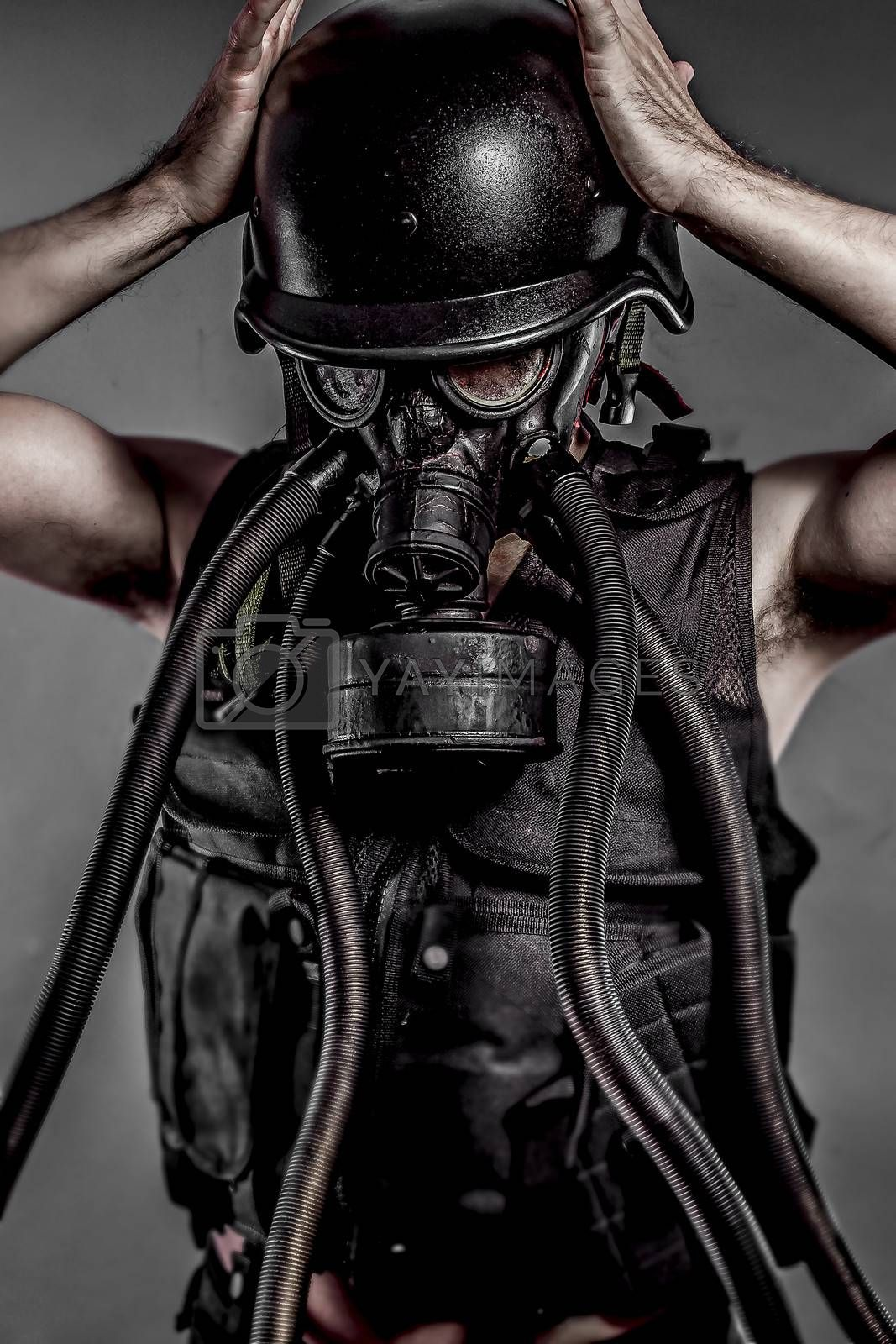 Contamination, nuclear disaster, man with gas mask, protection by FernandoCortes