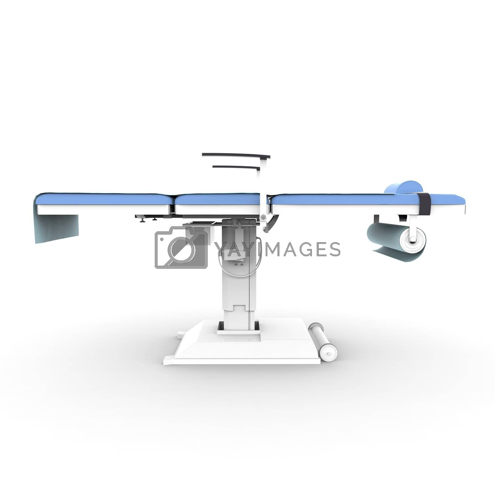 New and modern medical table on a white background