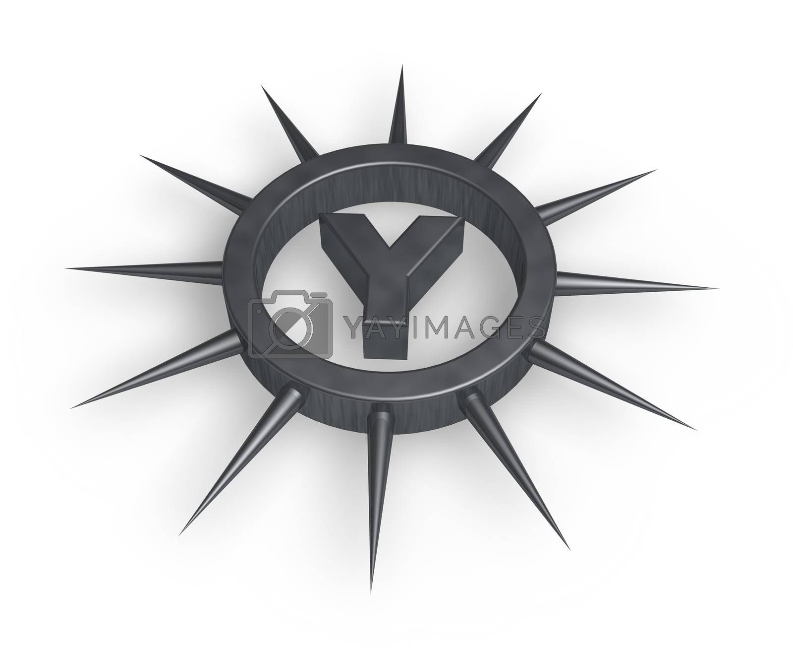 spike ring with the letter y inside - 3d illustration
