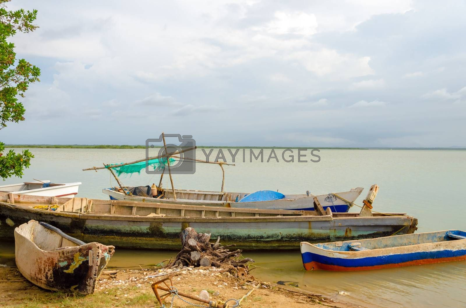 Old canoes on the shore of a lagoon in Camarones in La Guajira, Colombia