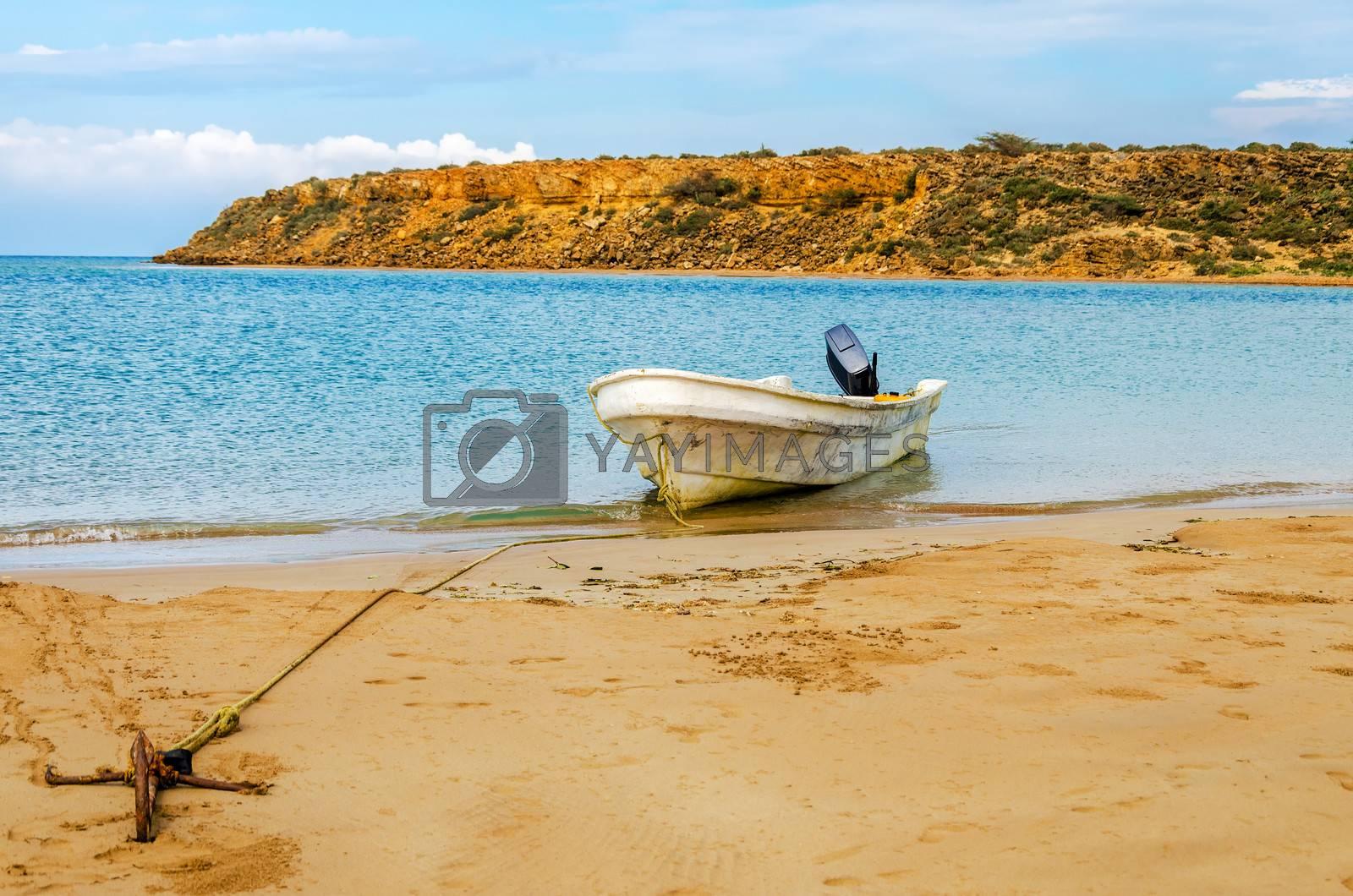 Boat anchored to the shore near Punta Gallinas in La Guajira, Colombia