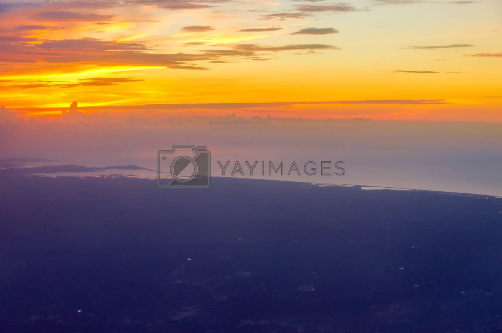 Orange sunset off the Colombian coast near Riohacha, La Guajira