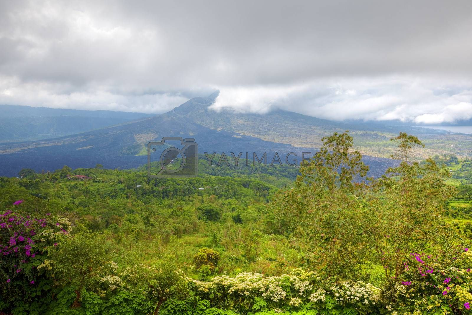 View of the still active Mount Batur in Bali