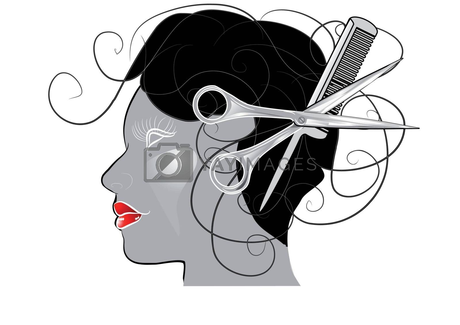 salon. woman's head with comb and scissors. 10 EPS