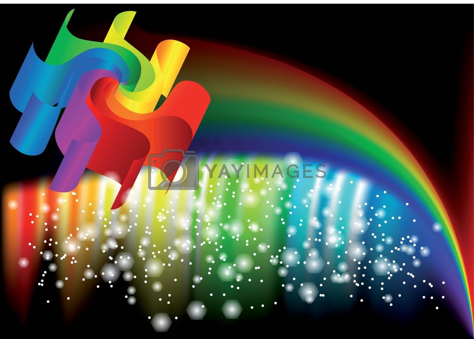 abstract rainbow on dark background. 10 EPS