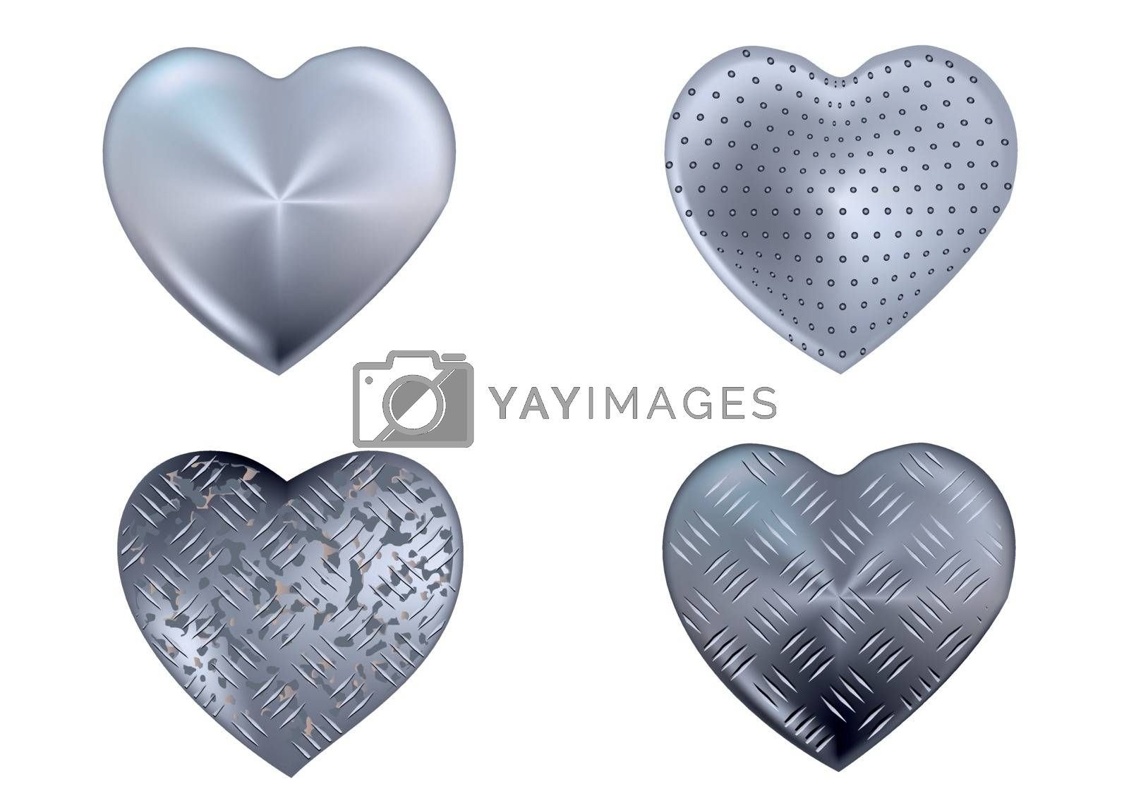 set of metal heart isolated on white
