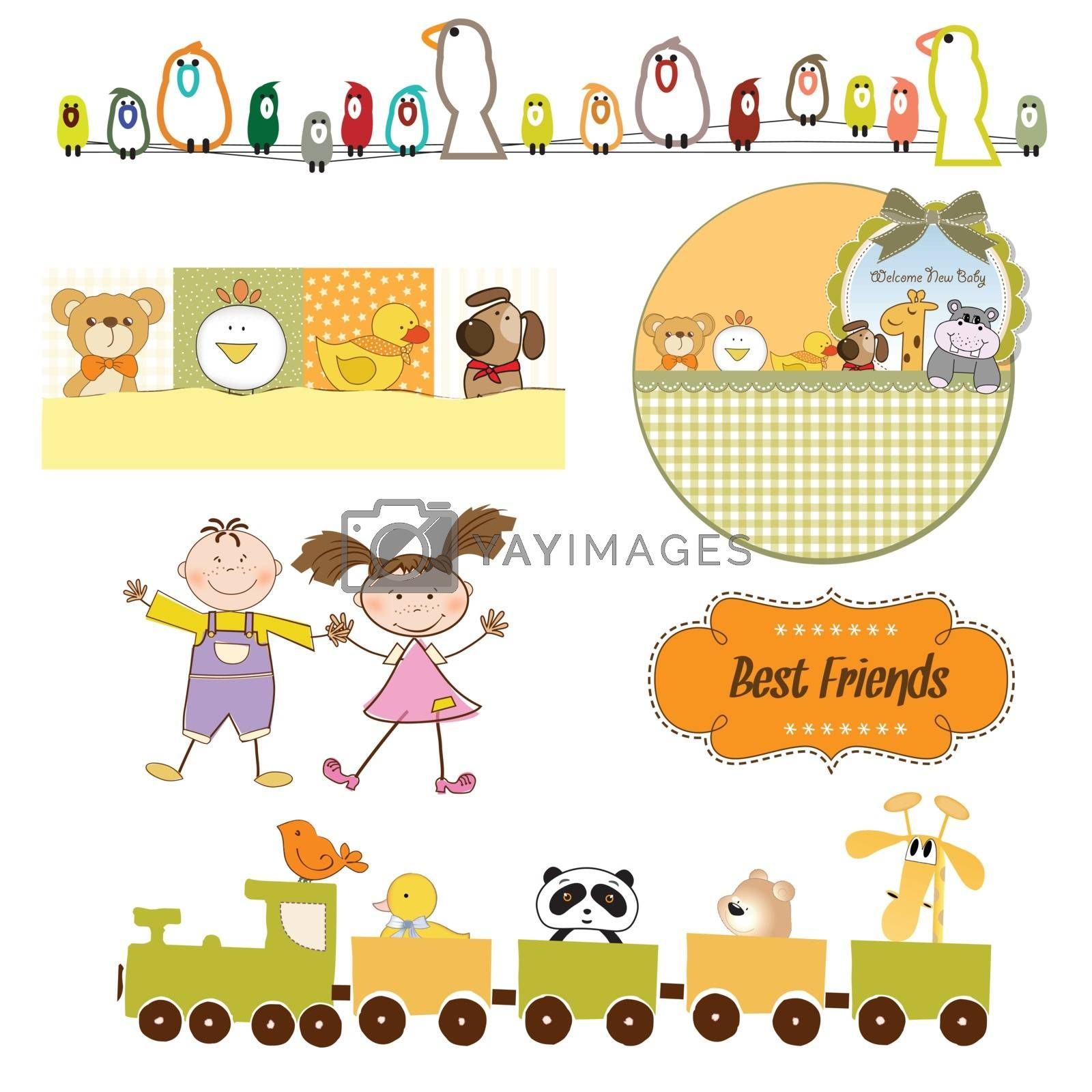 babies and toys items set in vector format