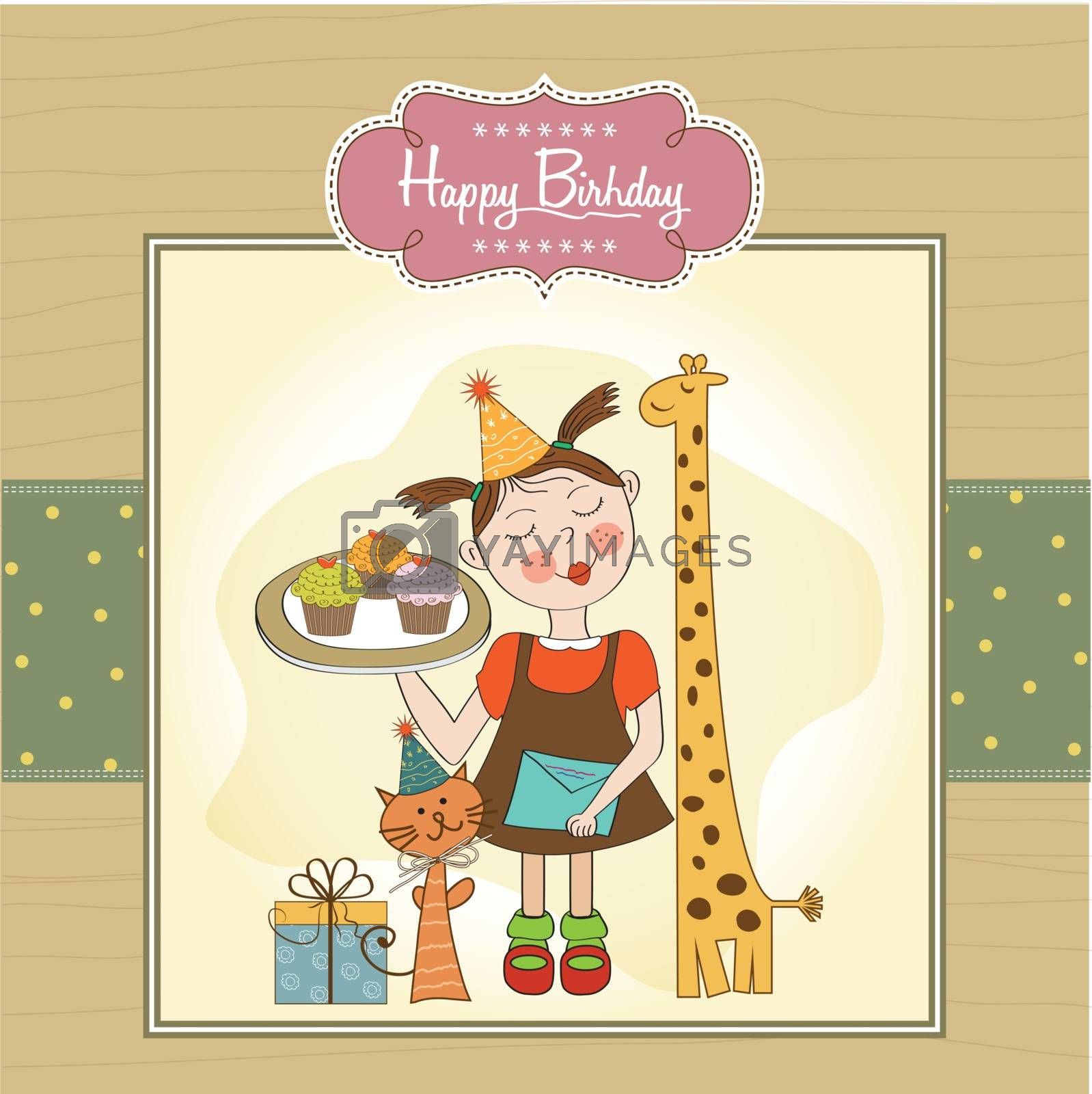 Happy Birthday card with funny girl, animals and cupcakes by balasoiu