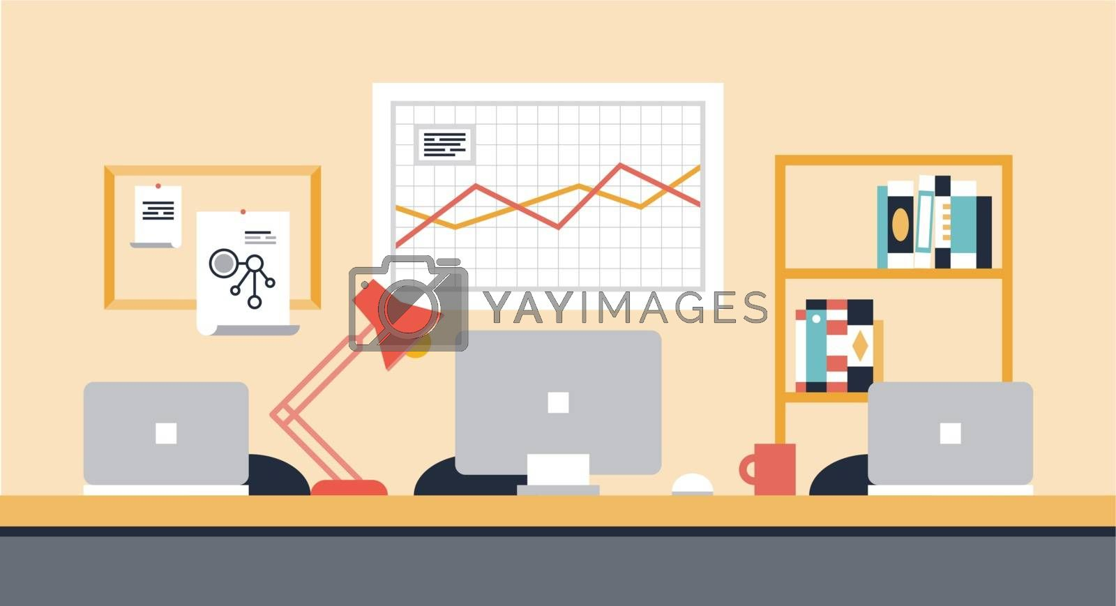 Flat design modern vector illustration of stylish workspace interior for team collaboration or people co-working space with office objects, equipment and modern devices.