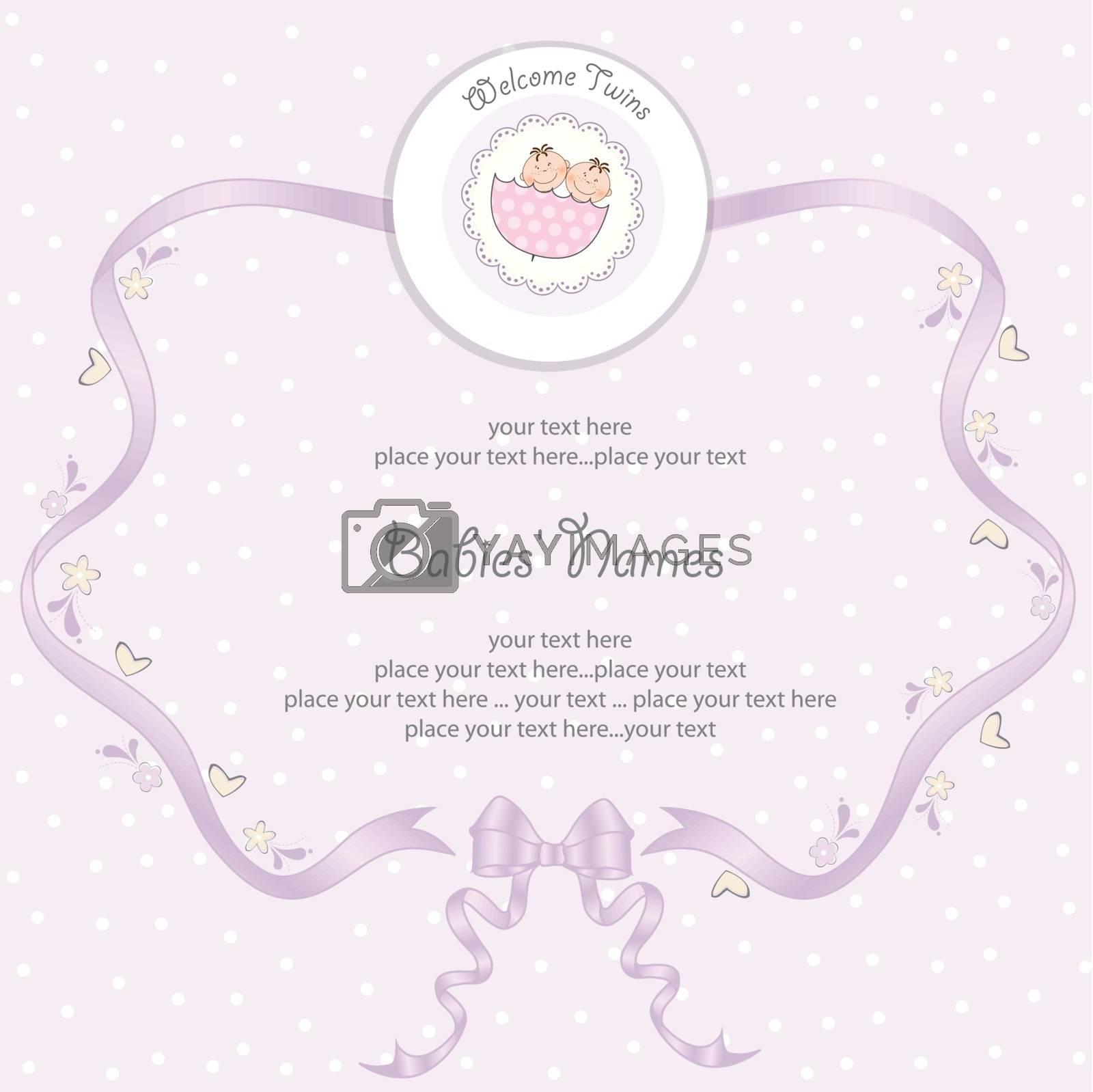 Royalty free image of Babies twins Shower card by balasoiu