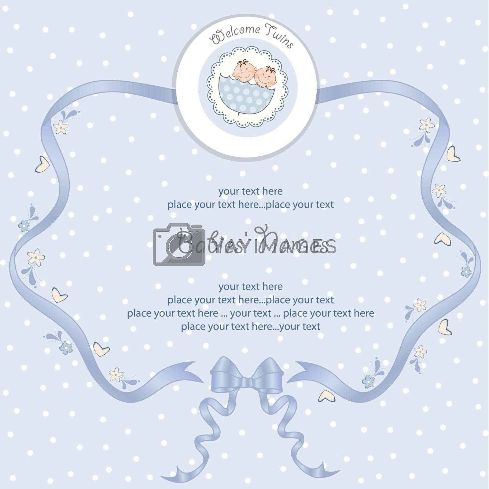 Royalty free image of Babies Twins Shower card by balasoiu