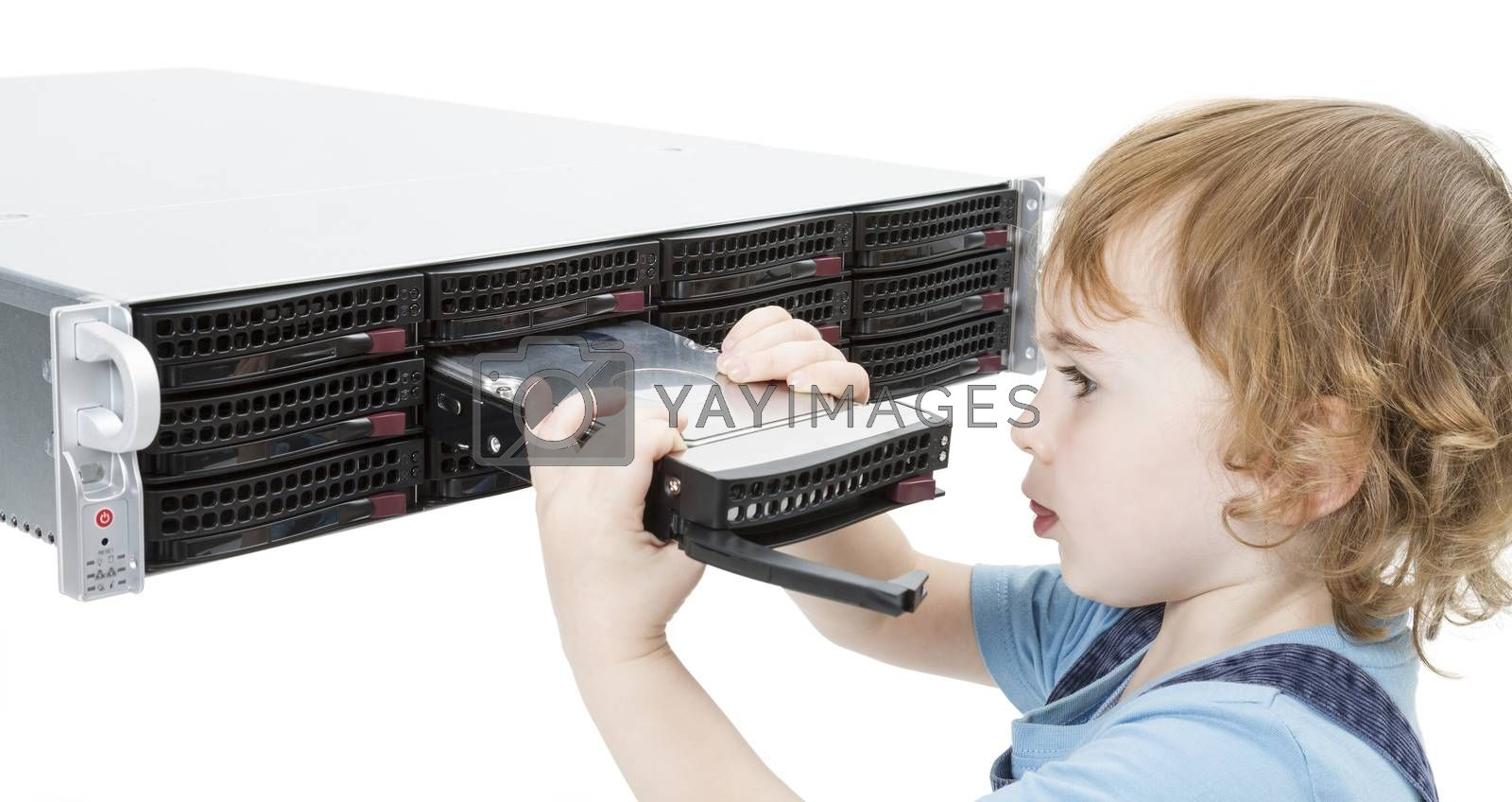Royalty free image of cute child with network server by gewoldi