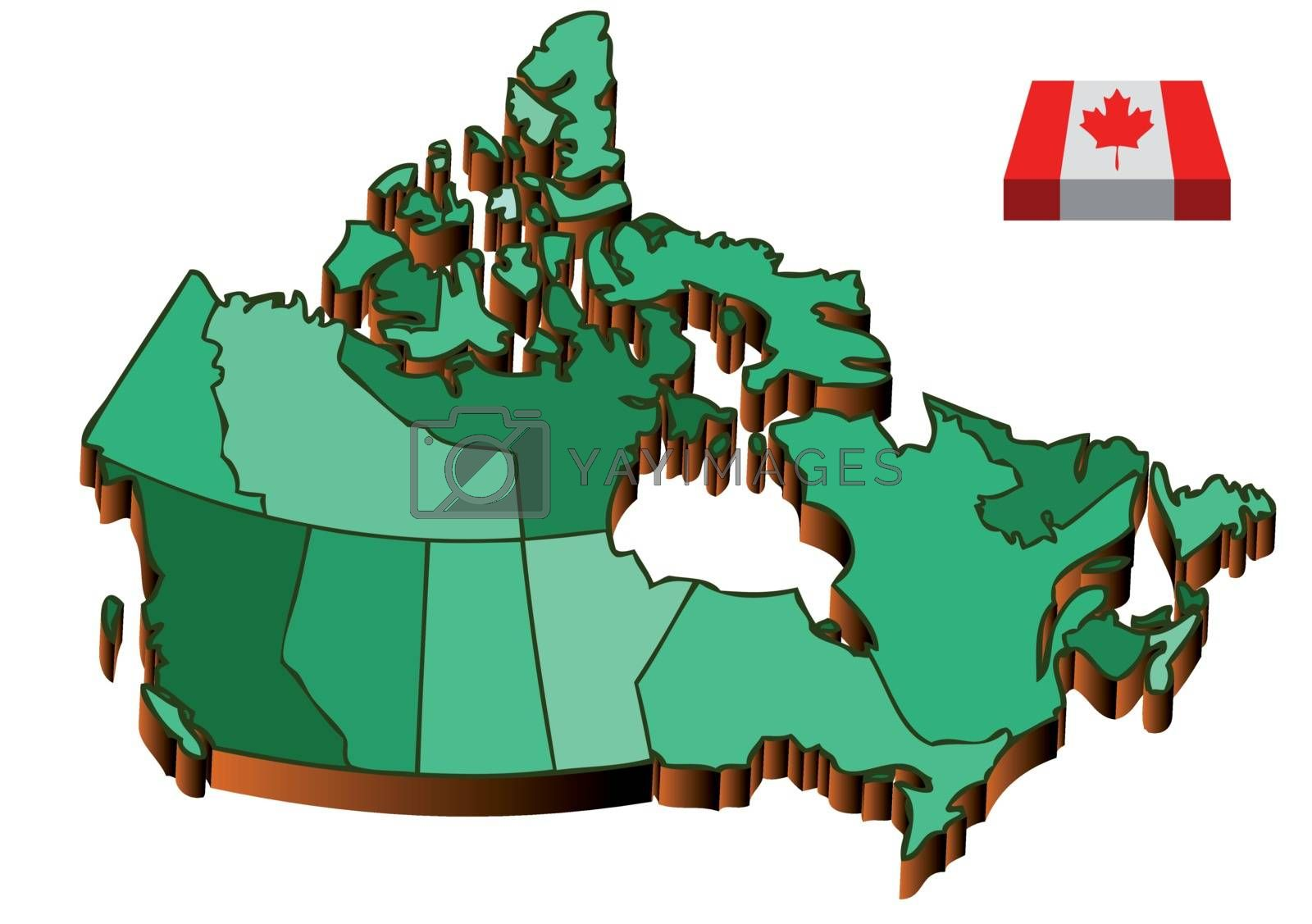 map canada isolated on a white background