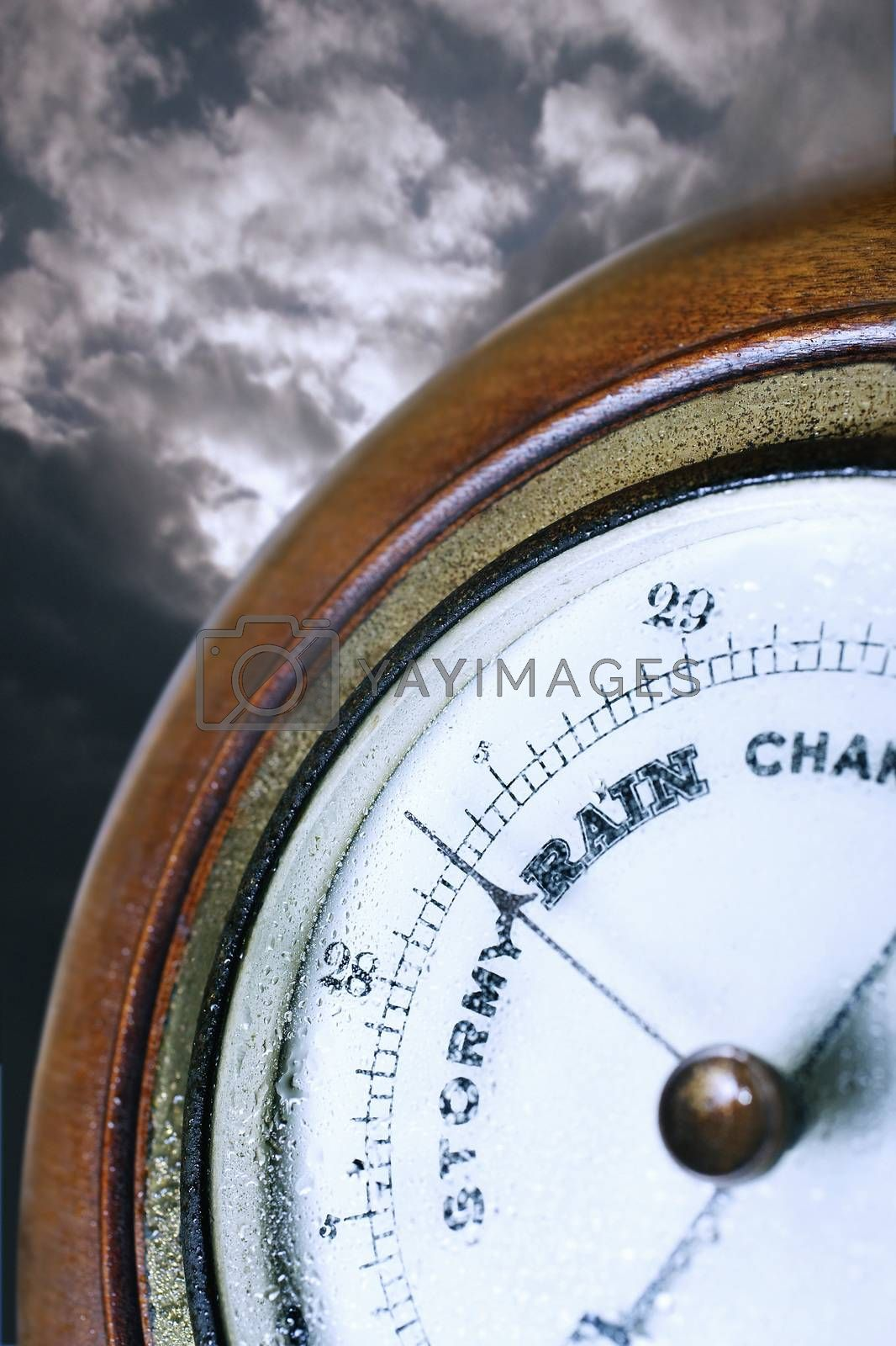 Closeup of weather barometer indicating bad weather by moodboard