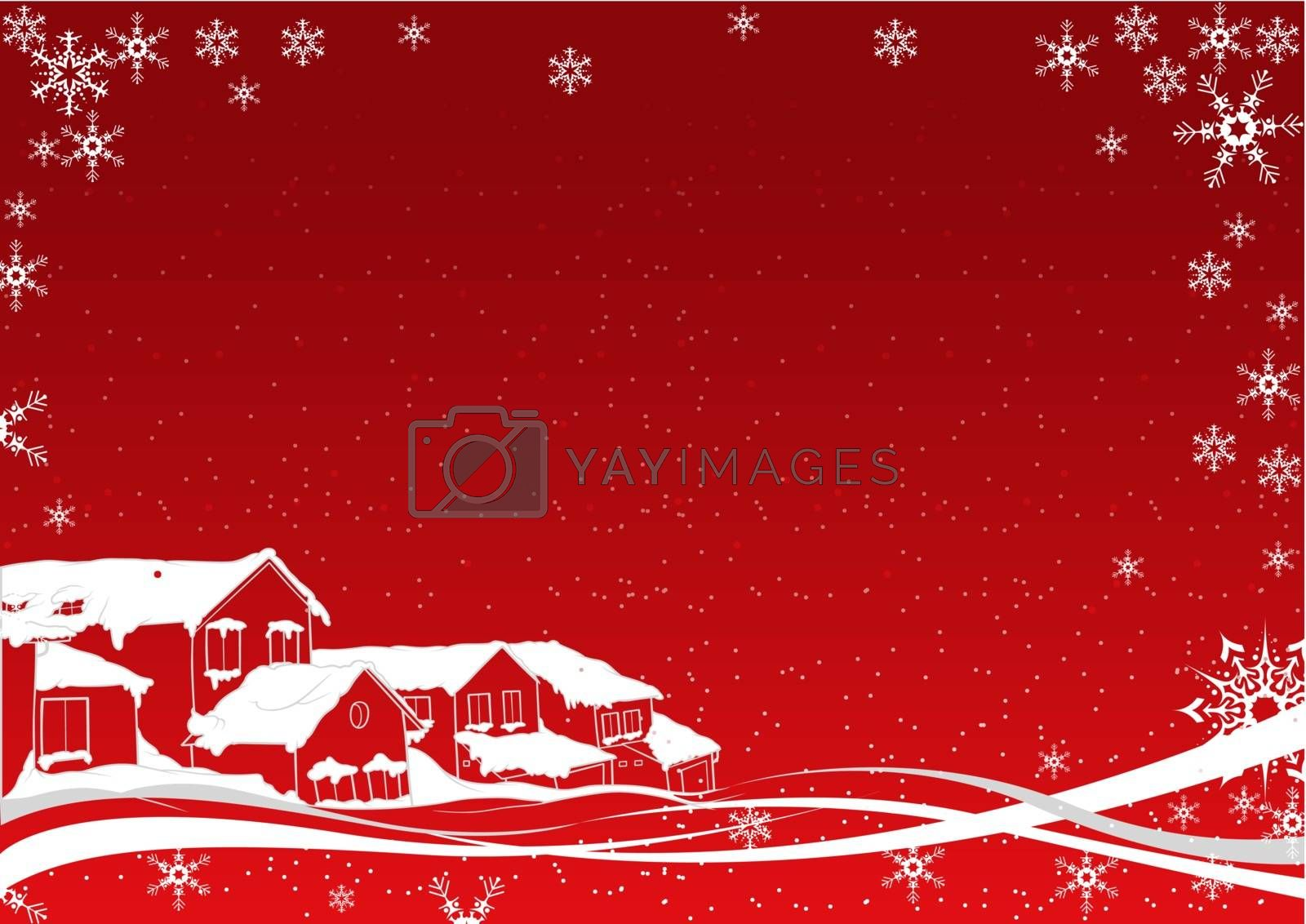 White Snow Covered Christmas - Colored Abstract Illustration, Vector