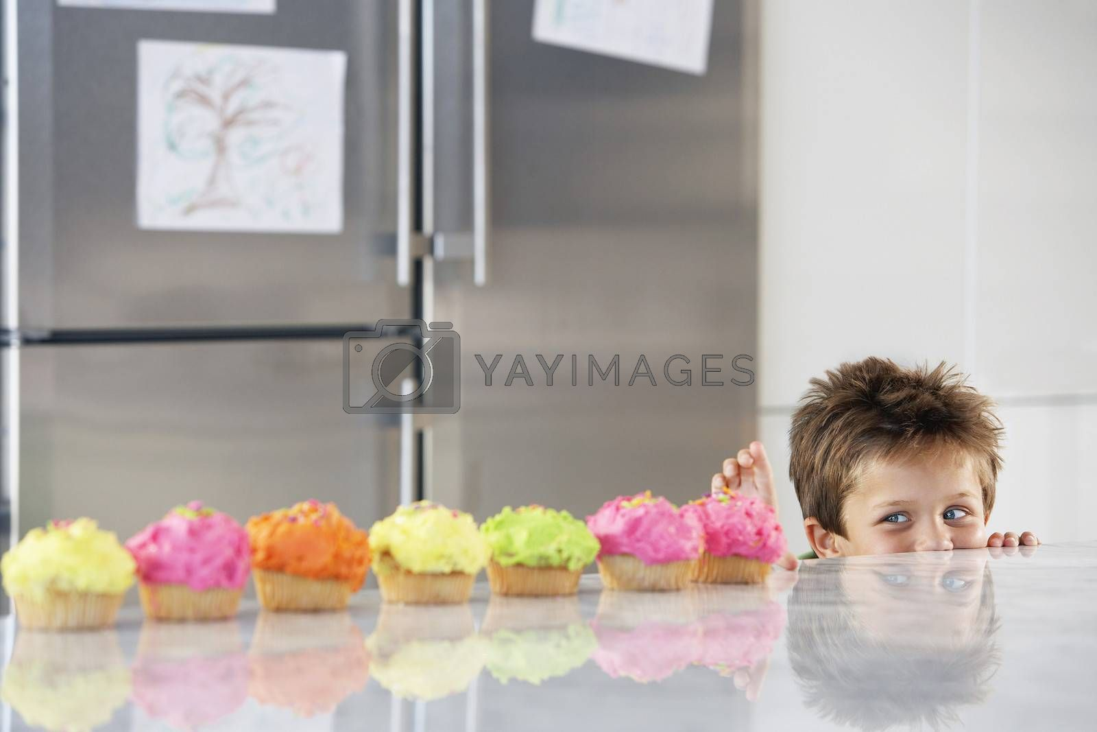 Royalty free image of Young boy peaking over counter at row of cupcakes in kitchen by moodboard