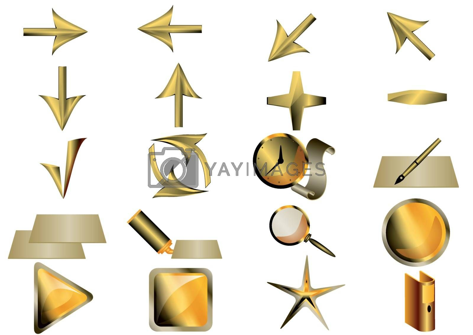 set of basic application icons isolated on white