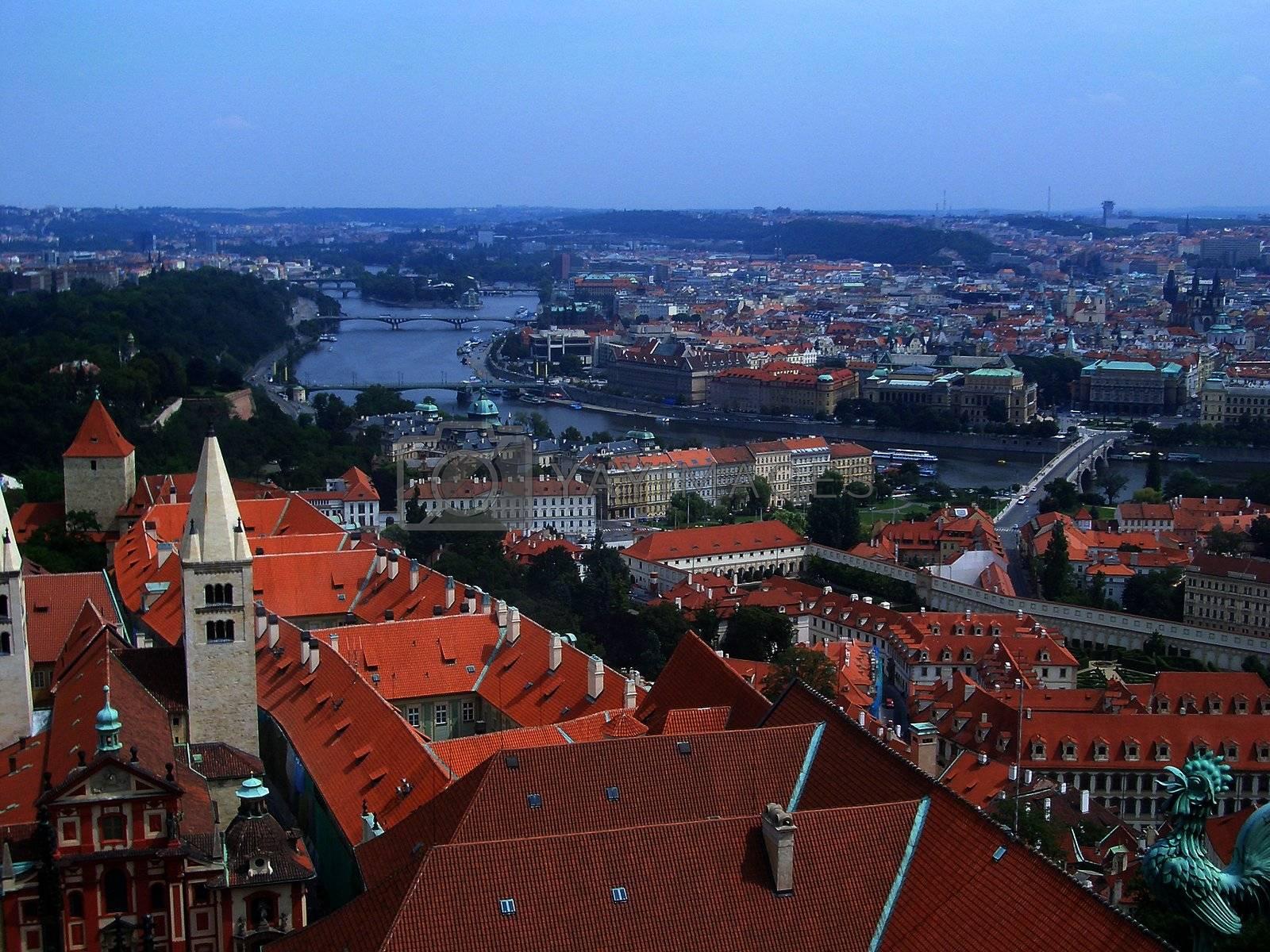 Panoramic view of Prague and city bridges, Czech Republic by Marco Rubino