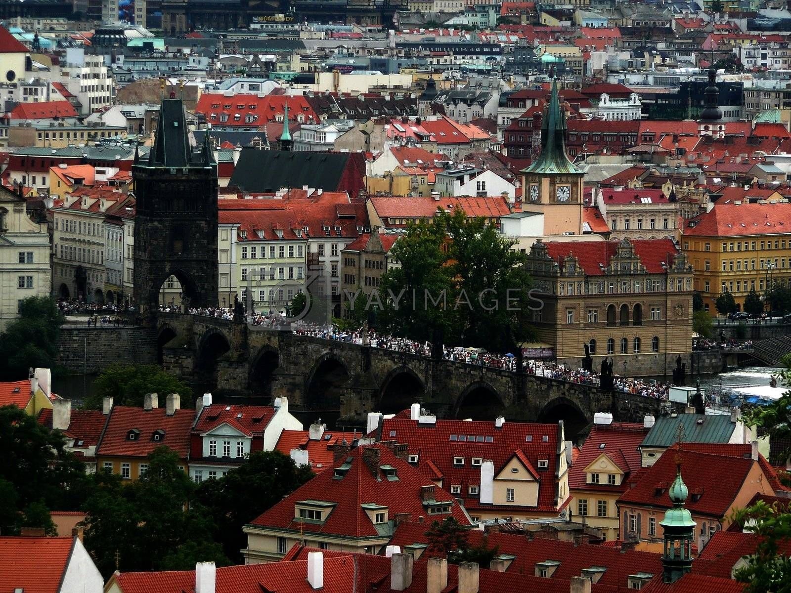 Panoramic view of Prague and city bridges, Czech Republic