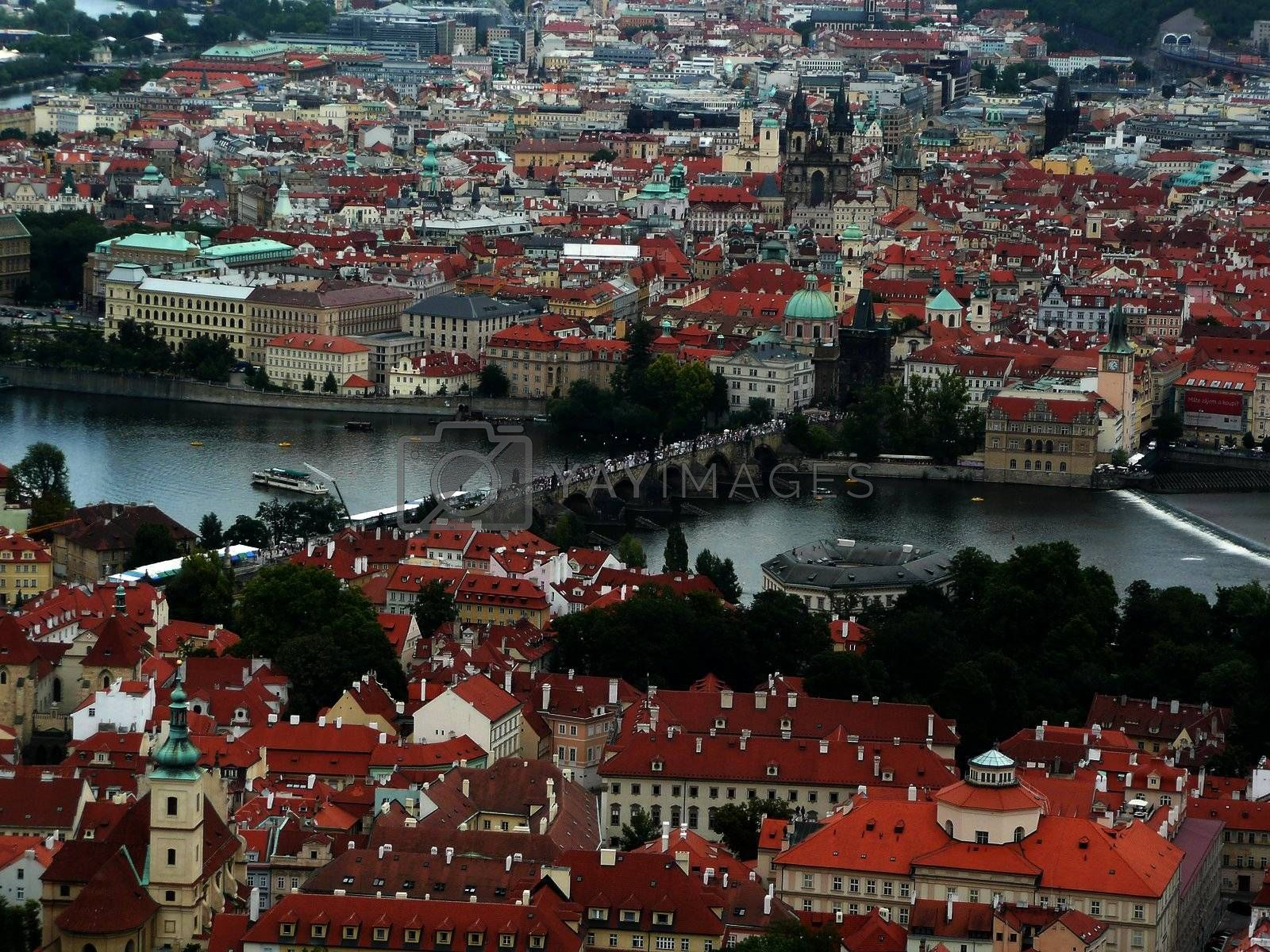 Panoramic view of Prague and city bridges, Czech Republic by Marco Rubino