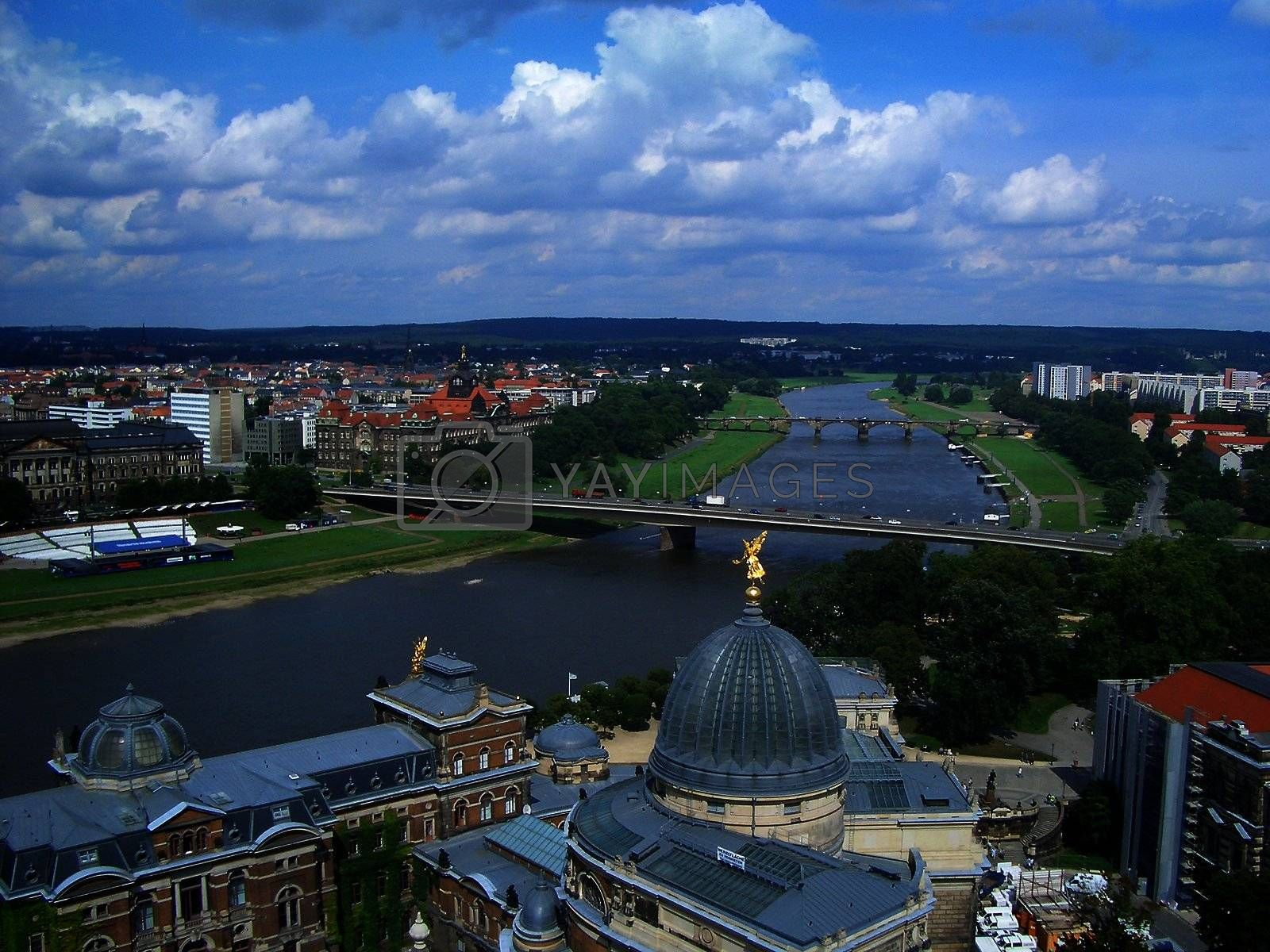 Panoramic view of Dresden and Elbe River, Germany by Marco Rubino