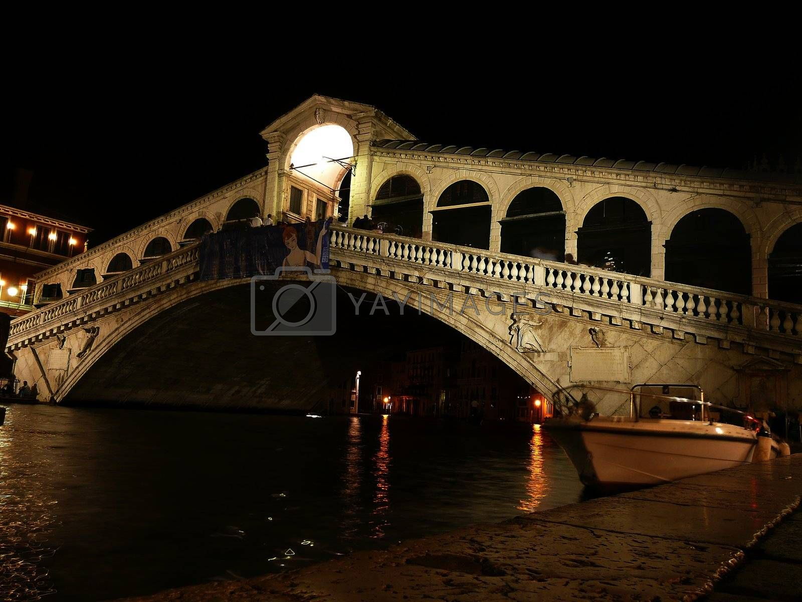 View of the Rialto Bridge at night, Venice, Italy by Marco Rubino