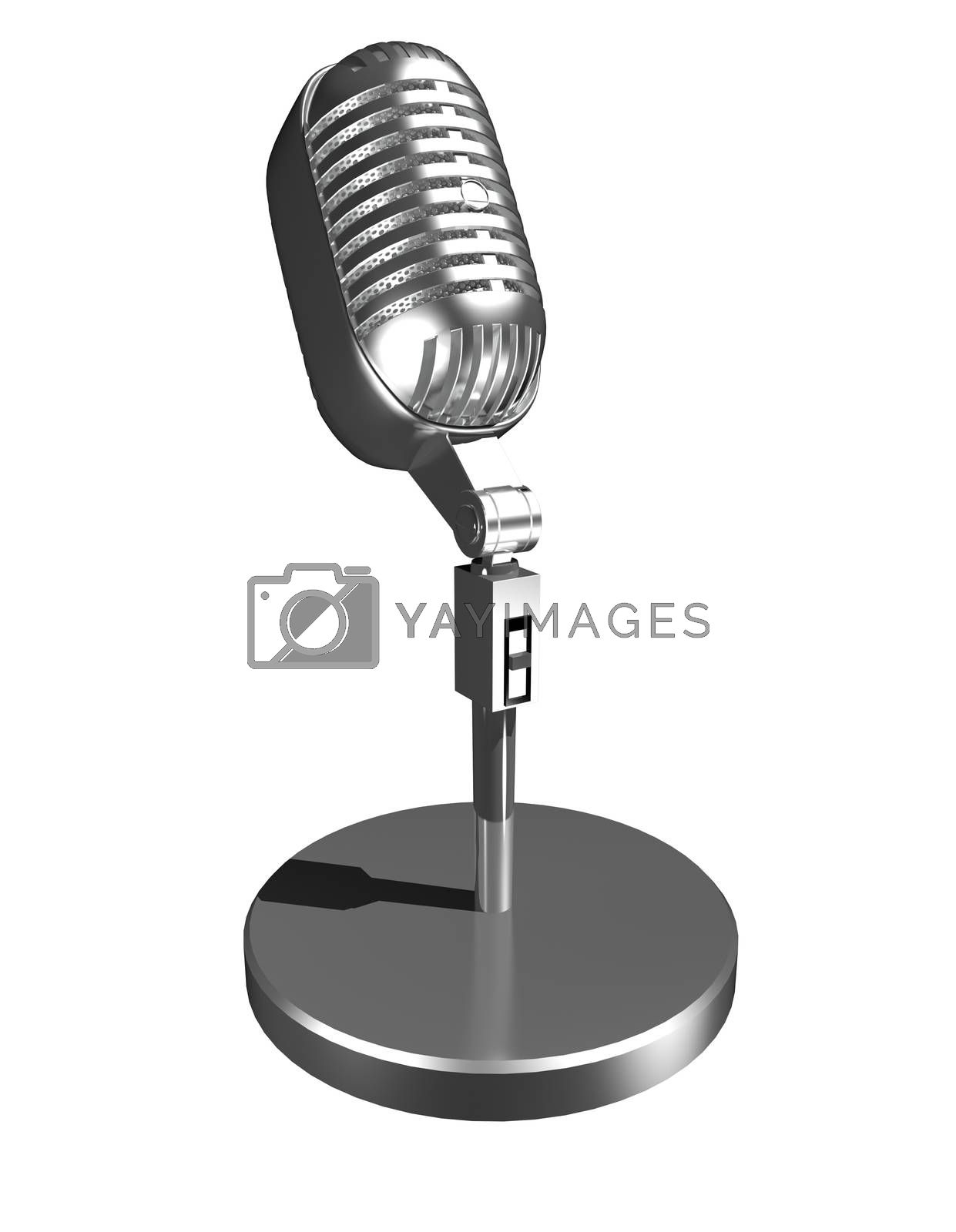 3d illustration of a microphone on a white background