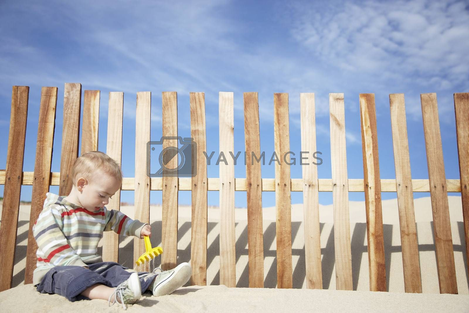 Royalty free image of Boy (1-2) playing with beach rake by wooden fence on sand dune by moodboard